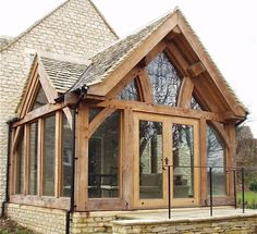 Oak Frame Extension created by Jackson Architects Porch Extension, Cottage Extension, Extension Ideas, Garden Room Extensions, House Extensions, House With Porch, House Front, Oak Framed Extensions, Glass Porch