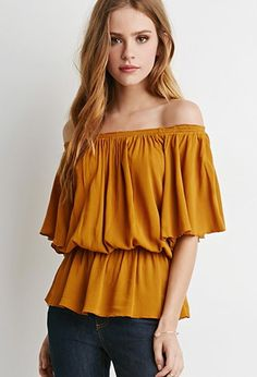 Butterfly Sleeve Gauze Blouse | Forever 21 - 2000115526