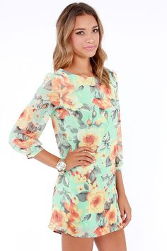 Peter Pansy Mint Green Floral Print Shift Dress  Get 7% Cash Back http://www.studentrate.com/itp/get-itp-student-deals/lulu-s-Student-Discount--/0