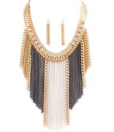 Tassels Herringbone Chains Drop Statement Necklace Earrings Set - $32