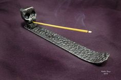 Skull Incense Holder Hand Forged From A Block Of by BobbioForgeLLC
