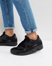 Shop Nike Air Max 90 Ultra Trainers In Black at ASOS. Black Nike Sneakers, Black Nikes, Air Max Sneakers, Nike Sb, Nike Air Max, Lightweight Running Shoes, Nike Swoosh Logo, Muscle T Shirts, Lace Up Shoes