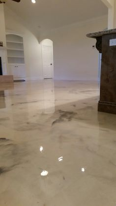 Elegant White Powder Basement Floor