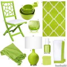 A rug, a throw blanket, measuring cups, and more finds in bright lime.