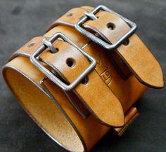Leather Cuffs | Leather cuff Bracelet Johnny Depp style wristband by mataradesign