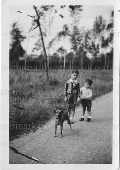 Vintage Photograph of Two Boys and their Dog