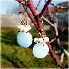 Brass earrings earrings with stones aquamarine earrings от Lybid #Brass_earrings #earrings_with_stones #aquamarine_earrings #quartz_aquamarine #pearl_earrings #white_pearls #long_earrings #Handmade_Jewelry