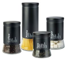 Home Basics Allaire 4 Piece Kitchen Canister Set Kitchen Canister Sets, Glass Canisters, Glass Jars, Spices Packaging, Brand Packaging, Jar Packaging, Design Packaging, Product Packaging, Packaging Design Inspiration