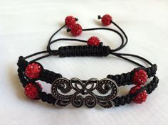 Black Shamballa bracelet with Red Crystal by PatiGsfashionjewelry, $12.99