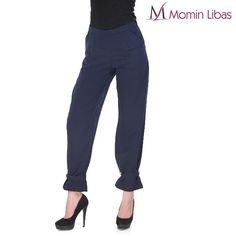 Ghaaliya Crepe Trouser Pant Bottom Product Code:TK27114 Navy Blue color trousers, made of Polyester crepe  #pant #style #trends #fashion