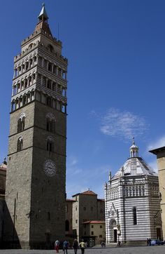 Bell Tower of Pistoia Cathedral & Battistero di San Giovanni in Corte, Pistoia, Italy