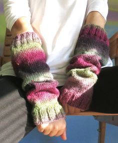 Knitted arm warmers hand warmers  September in by MsFairyland