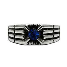 Spaceship Superstar - Modern Design Blue Crystal Stainless Steel Comfort-Fit Ring