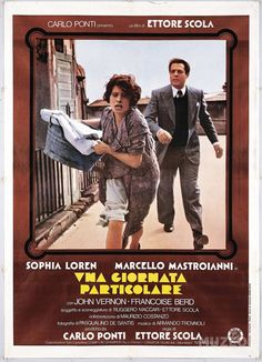 Directed by Ettore Scola.  With Sophia Loren, Marcello Mastroianni, John Vernon, Françoise Berd. Two neighbors, a persecuted journalist and a resigned housewife, meet during Hitler's visit in Italy in 1938.