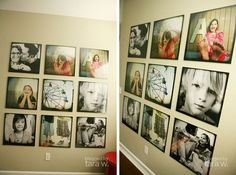 Tara Whitney's photo wall in her house- clear glass frames- so the images are totally the focus. Lots of impact in a room!