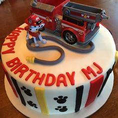 Paw Patrol cake! #happybirthday #birthdayparty #pawpatrol #marshall #firetruck #vanillacake #chocolatemousse #homemadebuttercream #fondant #pawprints #cakeart #edibleart #creativecakes #uniquecakes #cakesofinstagram #cake #birthdaycake #yummy #delicious #firehose #stripes #dog