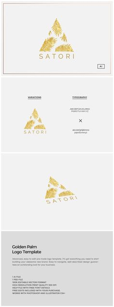 Golden Palm Logo Template by Design Co. on @creativemarket