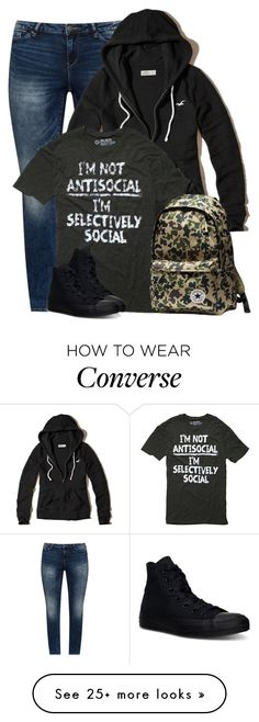 """Selectively Social"" by majezy on Polyvore featuring JunaRose, Hollister Co. and Converse"