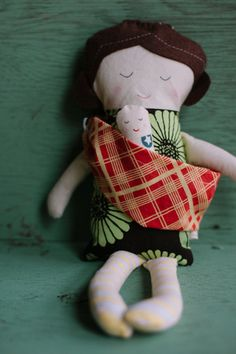 dollie with baby and sling set