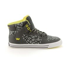 Shop for Womens Supra Vaider High Skate Shoe in Gray Lime at Journeys Shoes. Shop today for the hottest brands in mens shoes and womens shoes at Journeys.com.High top skate shoe from Supra featuring a vulcanized outsole, sliding tongue logo, high memory polyurethane insole, ankle support, leather liner, and SupraFoam midsole providing entire foot impact resistance and optimal shoe flex. Supra Sneakers, Supra Shoes, High Top Sneakers, Me Too Shoes, Men's Shoes, Moise, Nike High Tops, Cute Nikes, Everyday Shoes
