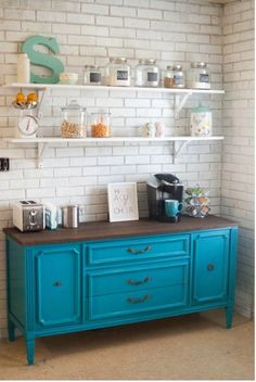 Use an old sturdy dresser in a kitchen- it's more interesting than cabinets- add a strong top- perhaps a butcher block, marble (or not). How great for a breakfast/coffee bar, too!