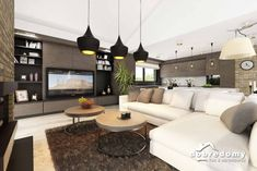 Nevada - Dobre Domy Flak & Abramowicz Nevada, Couch, Ceiling Lights, Lighting, Furniture, Tv, Home Decor, Prefab Homes, Interiors