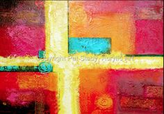 "Original Contemporary Abstract Mixed Media Painting ""SOUTHWEST EMANATION "" by Contemporary Arizona Artist Pat Stacy-36""x48"" Original-Available"