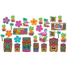 "Amscan Hawaiian Summer Luau Party Assorted Cutouts Wall Decoration (30 Piece), Multi Color, 14.5 x 12.5"". This variety of cardstock cutouts features tiki masks, pink flamingoes, summer pineapples, hibiscus flowers, palm trees and big ""Luau"" signs. With super bright hues. Cut out measures 5"", 7"", 11 1/2"". Package contains 30 decorative cutouts. Perfect for luaus, pool parties, barbecues, and more."