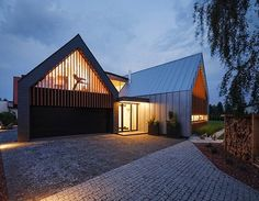 Two Barns House in Poland: family residence building - design by RS+ - Two Barns House, Tychy residential development, Polish architecture, architect, images Contemporary Barn, Modern Barn, Residential Architecture, Modern Architecture, Chalet Canada, Houses In Poland, Inspired Homes, Modern House Design, Building Design