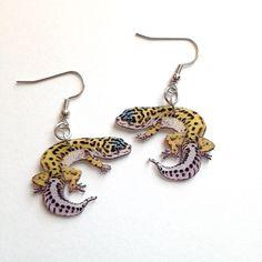 Handcrafted Plastic Leopard Gecko Lizard Reptile Stud Leverback Clipon Fish Hook Earrings