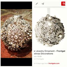 My homemade brooch ornament inspired by the overpriced $199 Frontgate ornament!!!