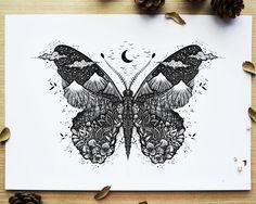 Cute Tattoos, Body Art Tattoos, Tattoo Drawings, New Tattoos, Small Tattoos, Tatoos, Pen Drawings, Butterfly Drawing, Butterfly Mandala Tattoo