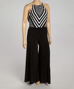 Another great find on #zulily! Black & White Chevron Yoke Jumpsuit - Plus #zulilyfinds