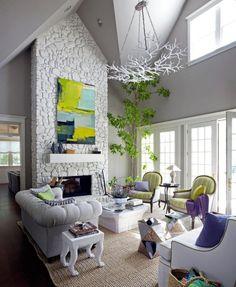 Dachschräge Wohnzimmer-Decken Steinmauer-Wand Optik-Beistelltisch Design