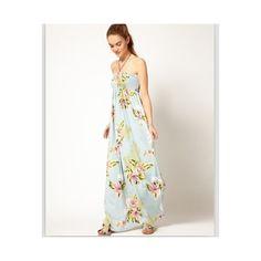 Bohemia Halter Off Shoulder Flowers Printed Long Dress Light Blue via Polyvore