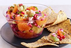 Pomegranate salsa!  You won't believe how good this is, promise!  I use clementine oranges instead of blood oranges.