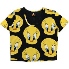 "COLETTE LAZY OAF X LOONEY TUNES T-Shirt ""Tweet"" ($55) ❤ liked on Polyvore featuring tops, t-shirts, shirts, crop top, crop shirts, yellow top, shirts & tops and crop tee"