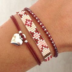 Bracelet Loom Bracelet Patterns, Bead Loom Bracelets, Woven Bracelets, Jewelry Patterns, Jewelry Bracelets, Bead Jewellery, Seed Bead Jewelry, Beaded Jewelry, Jewelery