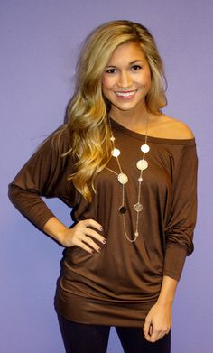 brown off the shoulder bottom fitted shirt