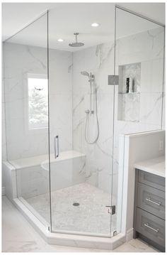 White Master Bathroom, Master Bathroom Shower, White Bathroom Tiles, Grey White Bathrooms, White Bathroom Vanities, Gray And White Bathroom Ideas, Walk In Bathroom Showers, Tiled Showers, Small Bathroom With Shower