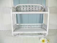 Vintage White Wood and Woven Wicker Shelf - 2 Shelves & Towel Rack Wall Hanging Organizer Unit - Shabby Chippy Paint Cottage Style Storage $58.00 by DivineOrders