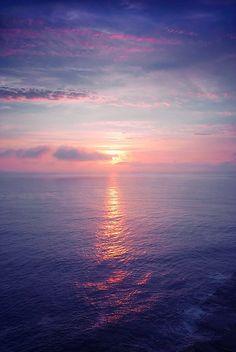 Serene sunset at sea.