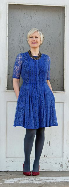 blue hue wonderland--over 40 style--mature style--blue dress by BCBG--over 40 fashion