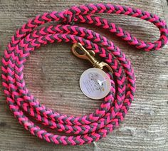 Paracord Dog Leash  Pink and Grey 5' paracord dog leash