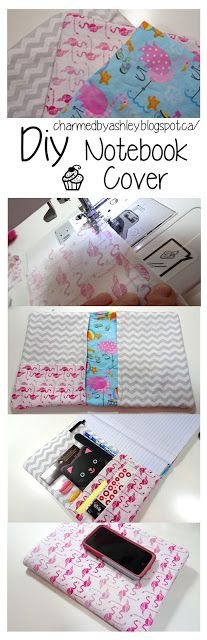 Maybe fabric pocket on the outside of notebook for pens, etc and cardboard/thick paper pocket on the inside for card, slip in paper.  Also, maybe slip in a couple of paper folder pockets in between pages.