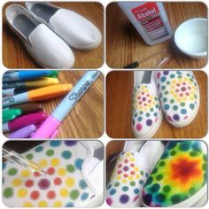 Colored sharpies and rubbing alcohol. Use a dropper to drop the alcohol on the design you made with colored sharpies.