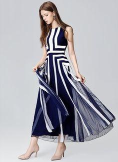 Polyester Géométrique Sans manches Maxi Élégant Robes (1017688) @ floryday.com