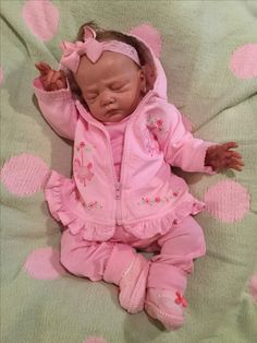 Lillie Beth, Reborn baby doll, in mix-n-match. Each clothing item is from a different company and brand. So adorable!