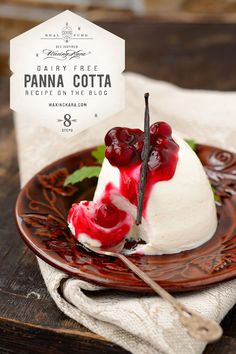 """You will not miss the dairy in this Dairy-Free Panna Cotta recipe, but you may be asking yourself: Dairy-free custard? How? Be prepared to be amazed. Panna Cotta is a cold Italian custard, often served with fruit sauce or caramel syrup. In Italian, it translates to """"cooked cream"""". My friend Joyce turned this idea upside down when she removed all dairy from this dairy-free panna cotta recipe. Honey Recipes, Gourmet Recipes, Dessert Recipes, Vegan Recipes, Gourmet Foods, Sweet Desserts, Delicious Desserts, Vegan Desserts, Dairy Free Custard"""