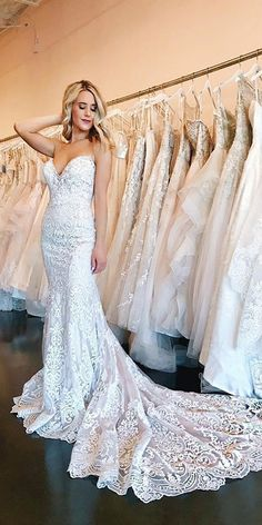 trendy wedding dresses sweetheart fit and flare allure bridal Fit And Flare Wedding Dress, Sweetheart Wedding Dress, Fitted Lace Wedding Dress, Bridal Gowns, Wedding Gowns, Wedding Dress Gallery, Wedding Attire, Marie, Lace Dress